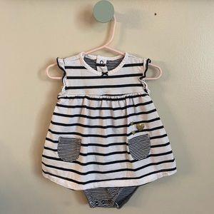 Baby Girls Black & White Sun Dress Onesie